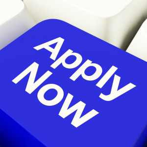 Apply Now Computer Key In Blue For Work Application